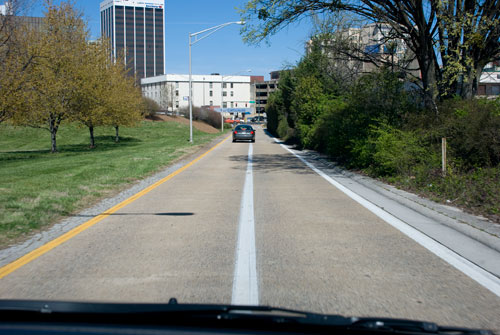 Driving into Chattanooga, TN. There are actually supposed to be two lanes here. For bicycles, maybe?