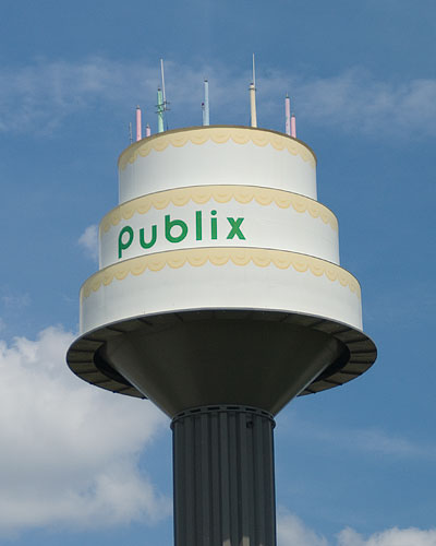The Publix water tower, which provides cake-flavored water to the citizens of Lakeland.