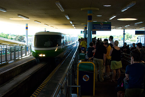The monorail pulling into the station