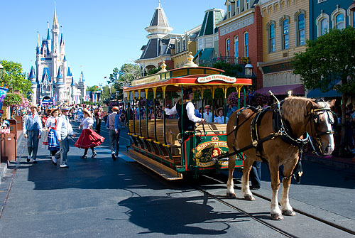 This horse-drawn trolley came along, a bunch of dancers jumped out, and music started playing. Only at Disney.