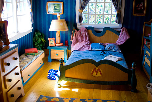 Mickey's bedroom, which was oddly right inside the front door of his house.