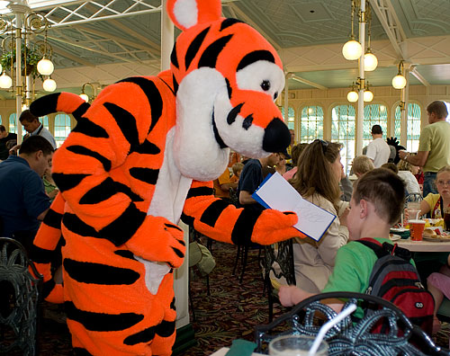 Tigger signs Kyle's autograph book