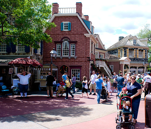 Liberty Square, designed to look like 18th century New England
