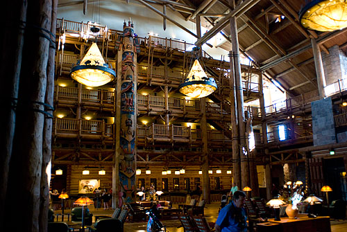 The view from our table at Whispering Canyon Cafe, in the Wilderness Lodge.