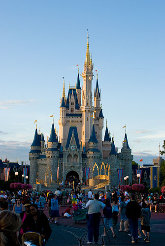 Cinderella's Castle lit by the setting sun