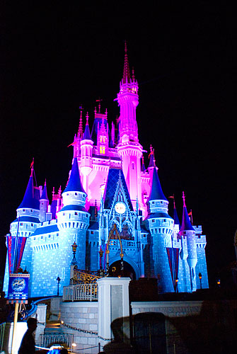 While we were waiting for the fireworks, the castle was lit by a progression of different colored lights