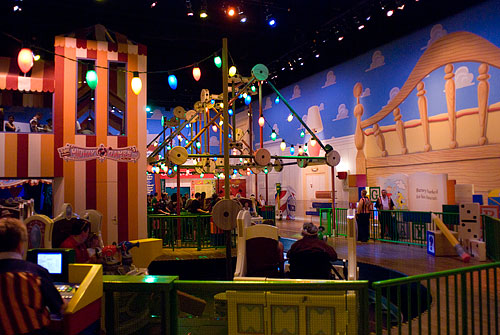 Inside the Toy Story theme ride/video game.