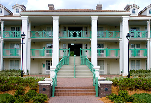 The back of Acadian House, our hotel building at Port Orleans Riverside.