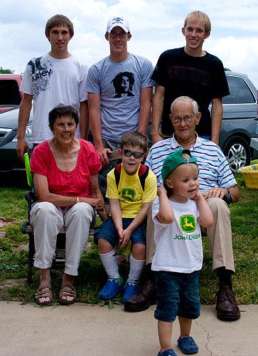 Back row: Gabe, Shane Joe. Front row: Grandma Ellen, Kyle, Grandpa Bob, Ian