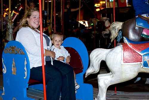 Katra took Ian on the merry-go-round