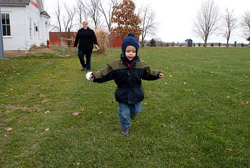 Ian running to show me the ornament he made ALL BY HIMSELF!