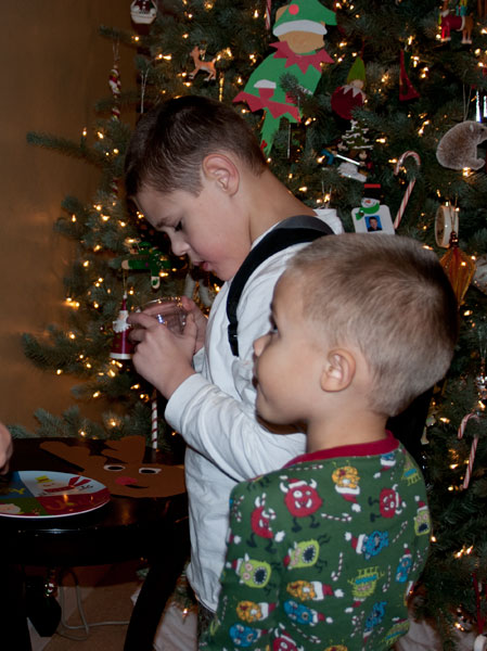 Kyle and Ian set out cookies and milk for Santa Claus