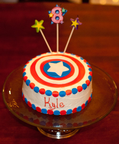 Kyle's amazing Captain America cake, from the new bakery in town