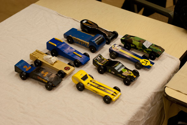 The Wolf den cars. Kyle's is the second from the right in the front (#24)