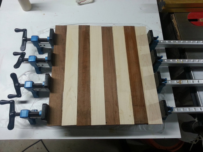 The strips glued and clamped